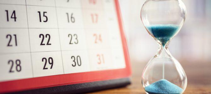 sablier et calendrier