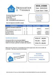 Exemple de devis diagnostic immobilier
