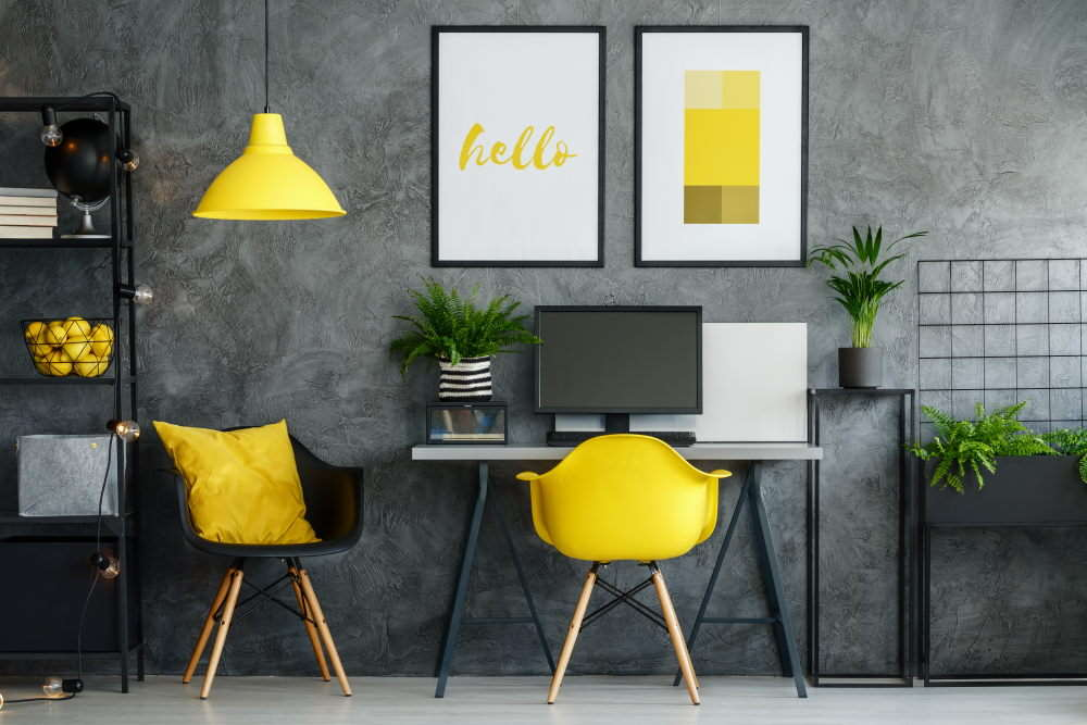 Espace bureau jaune et gris