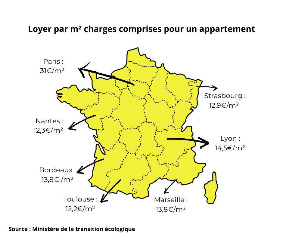 carte de loyers de la France