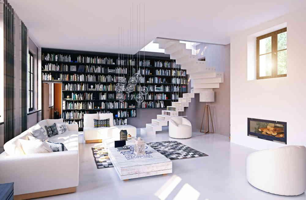 Bibliothèque murale dans le salon