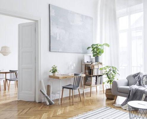 Salon avec décoration nordique