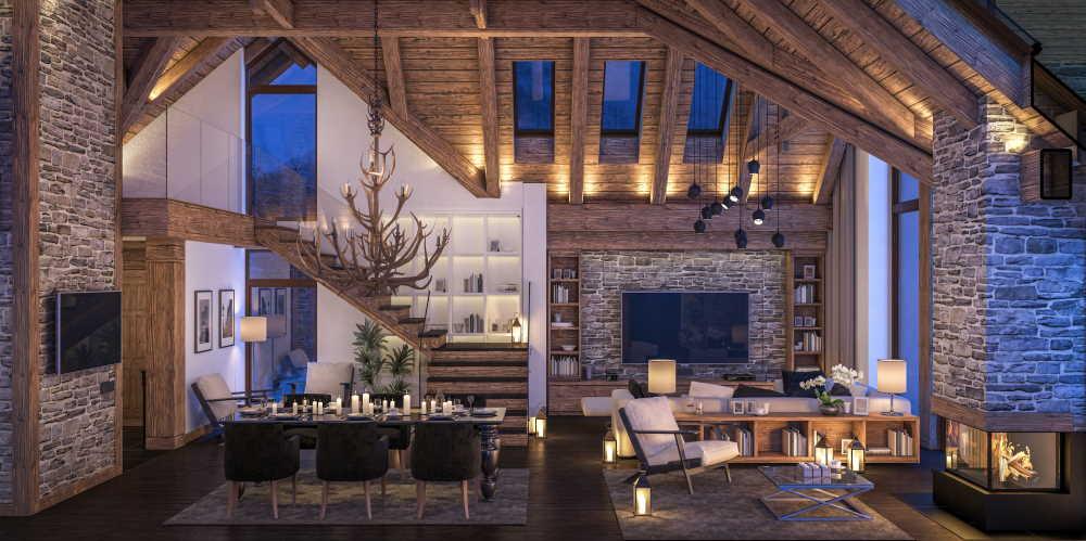 Décoration intérieur d'une maison style chalet