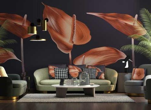 Salon moderne avec papier peint motif fleurs tropicales