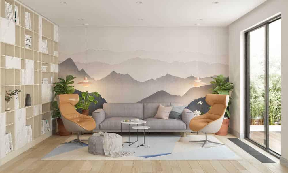 Idée décoration de salon avec du papier peint motif montagnes