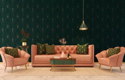 Salon rose et verte. Style art déco